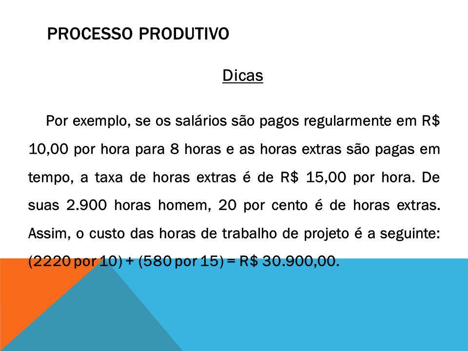 PROCESSO PRODUTIVO Dicas Por exemplo, se os salários são pagos regularmente em R$ 10,00 por hora para 8 horas e as horas extras são pagas em tempo, a
