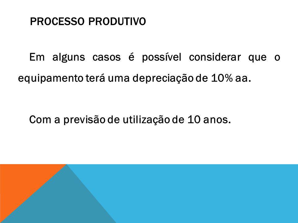 PROCESSO PRODUTIVO Em alguns casos é possível considerar que o equipamento terá uma depreciação de 10% aa. Com a previsão de utilização de 10 anos.