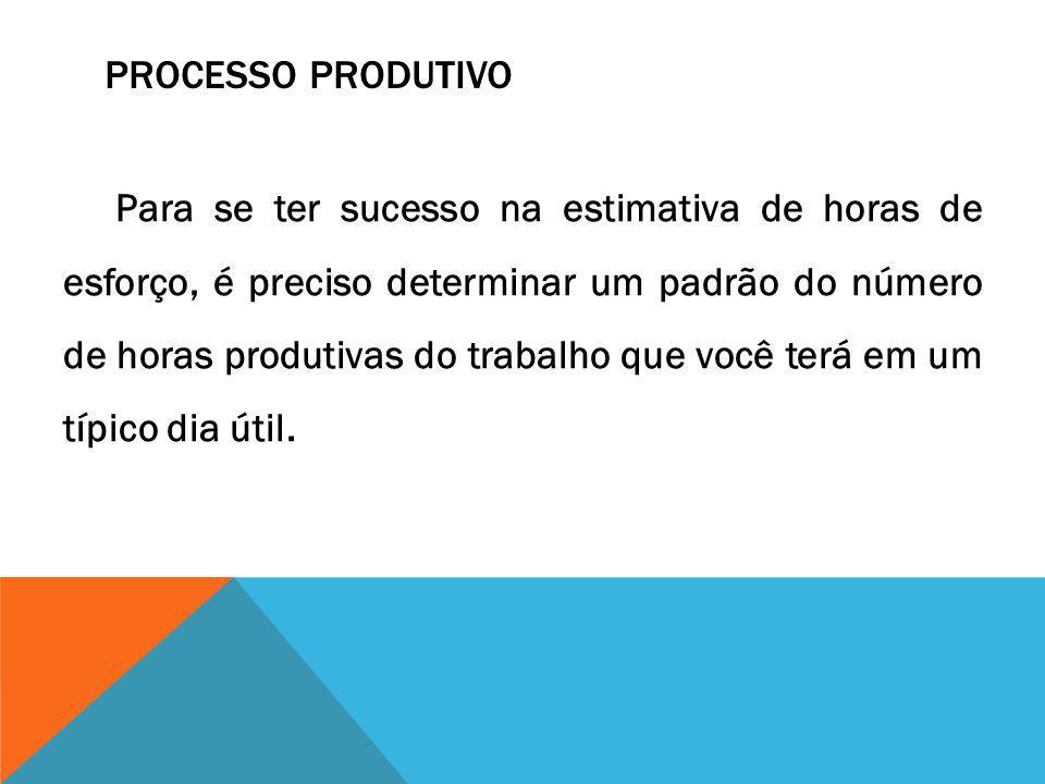 PROCESSO PRODUTIVO Para se ter sucesso na estimativa de horas de esforço, é preciso determinar um padrão do número de horas produtivas do trabalho que