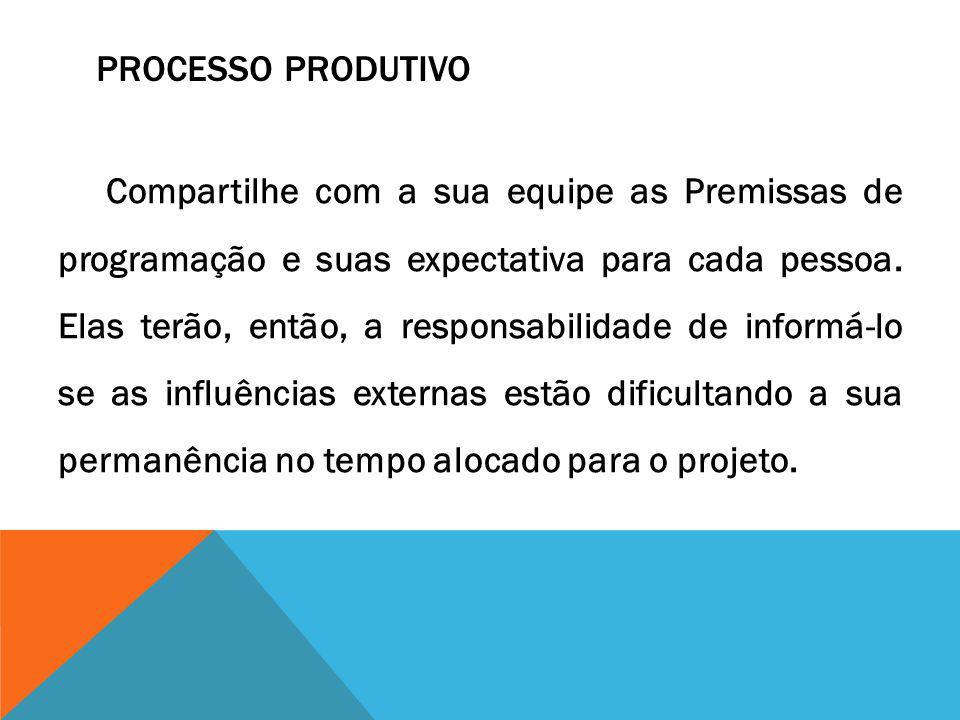 PROCESSO PRODUTIVO Compartilhe com a sua equipe as Premissas de programação e suas expectativa para cada pessoa. Elas terão, então, a responsabilidade