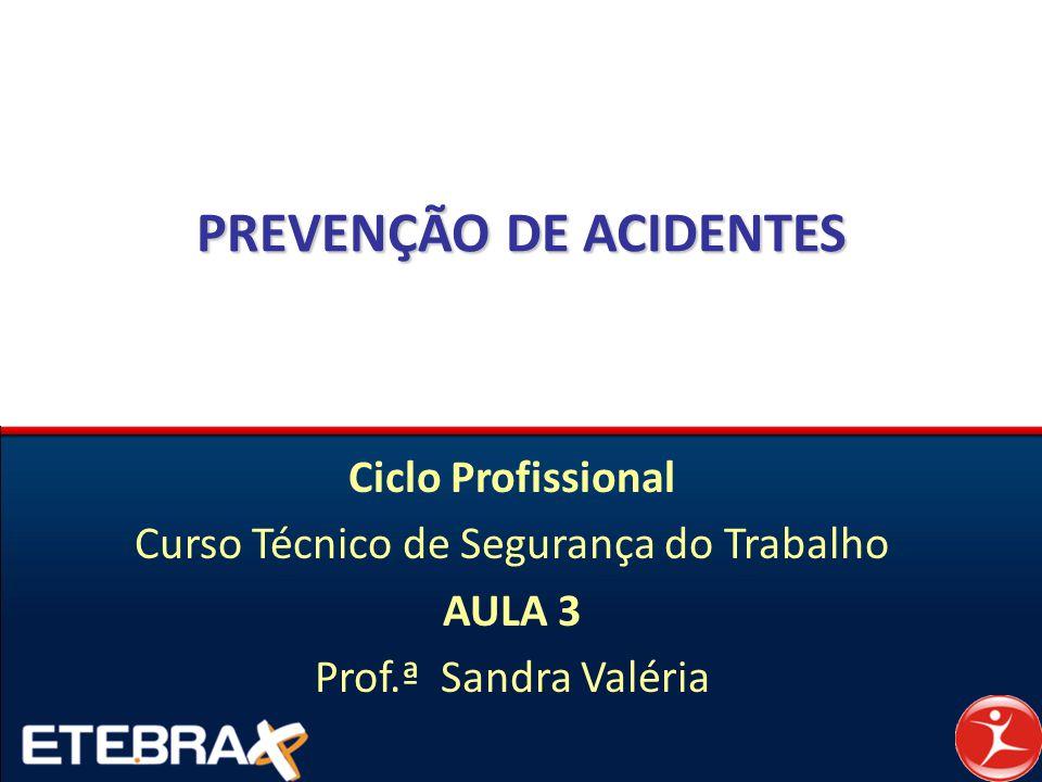 PREVENÇÃO DE ACIDENTES Ciclo Profissional Curso Técnico de Segurança do Trabalho AULA 3 Prof.ª Sandra Valéria
