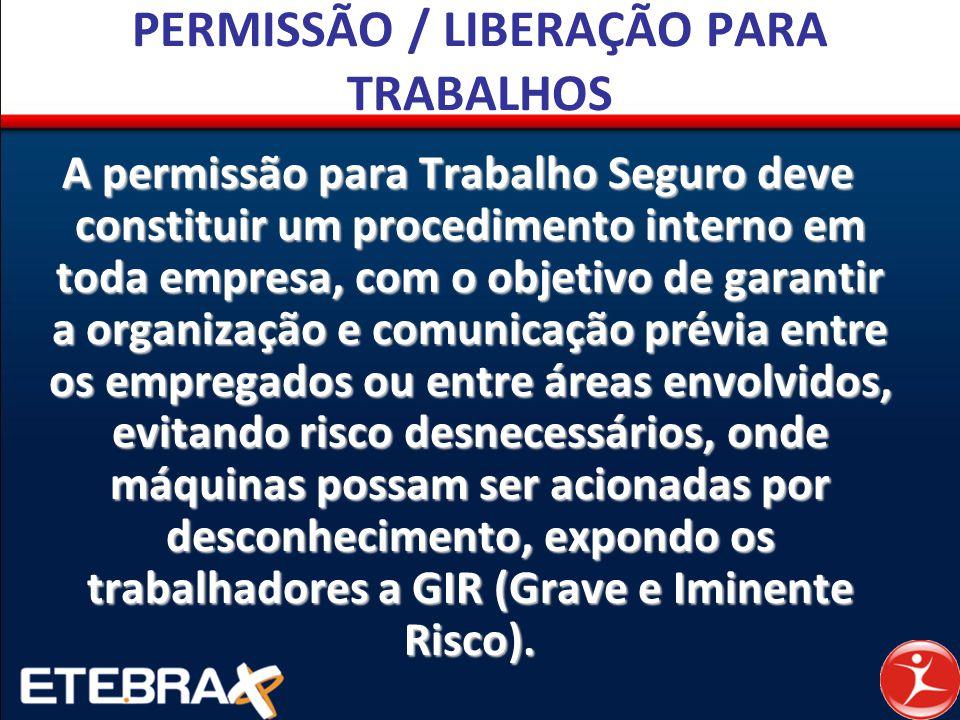 PERMISSÃO / LIBERAÇÃO PARA TRABALHOS A permissão para Trabalho Seguro deve constituir um procedimento interno em toda empresa, com o objetivo de garan