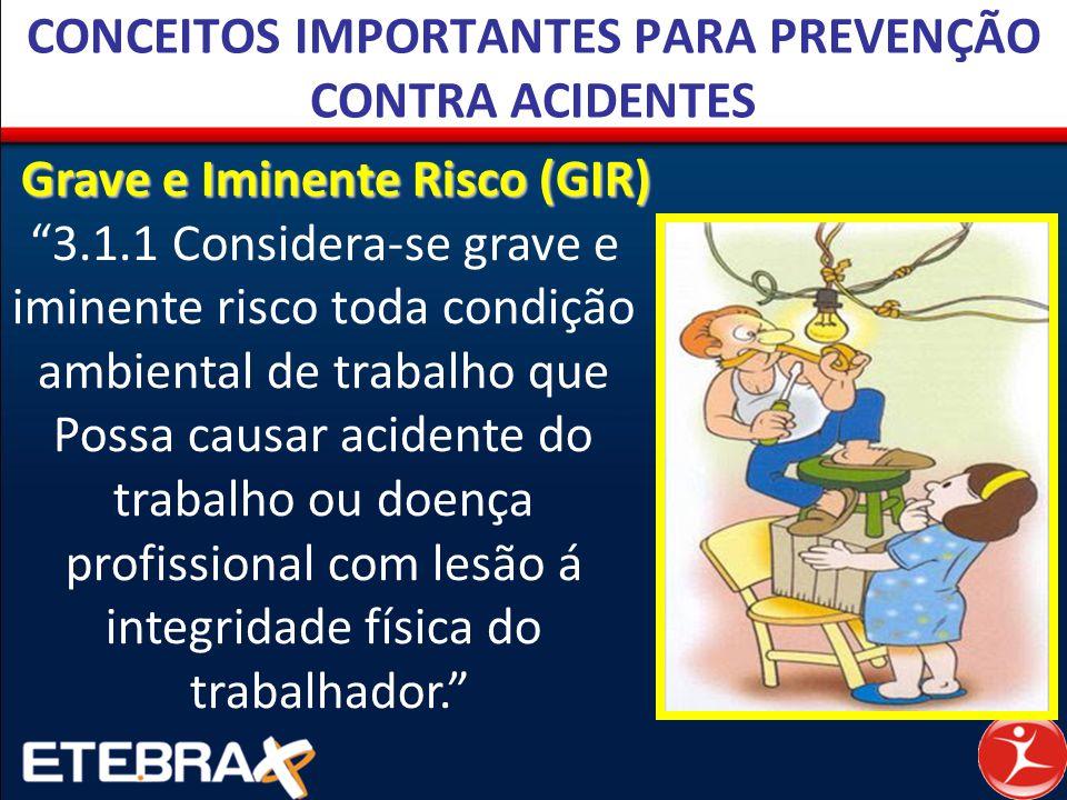"""CONCEITOS IMPORTANTES PARA PREVENÇÃO CONTRA ACIDENTES Grave e Iminente Risco (GIR) """"3.1.1 Considera-se grave e iminente risco toda condição ambiental"""