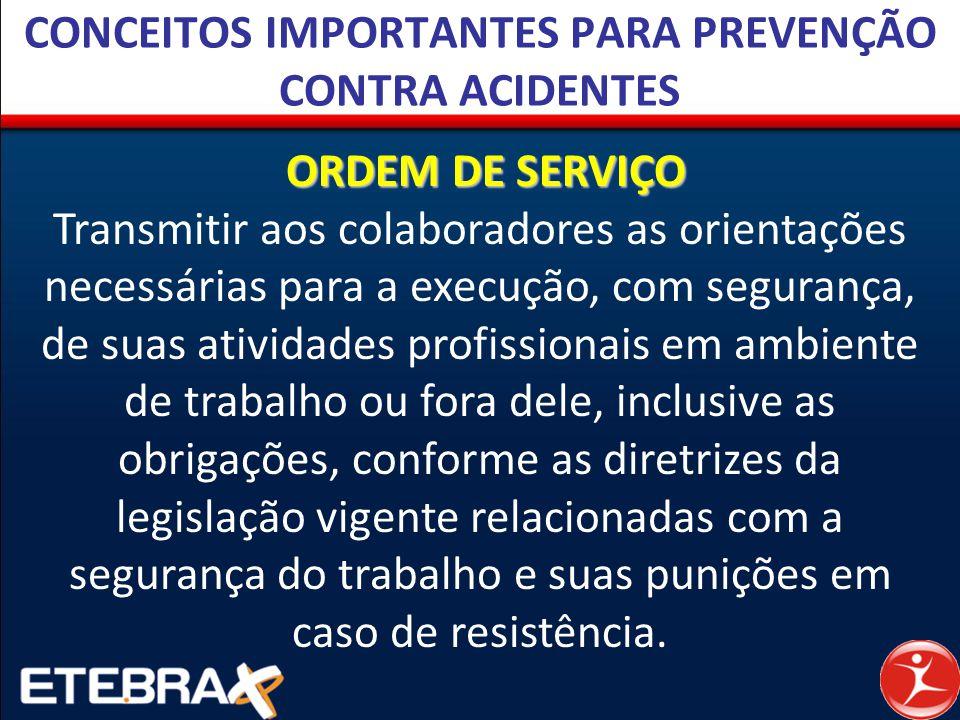 CONCEITOS IMPORTANTES PARA PREVENÇÃO CONTRA ACIDENTES ORDEM DE SERVIÇO Transmitir aos colaboradores as orientações necessárias para a execução, com se