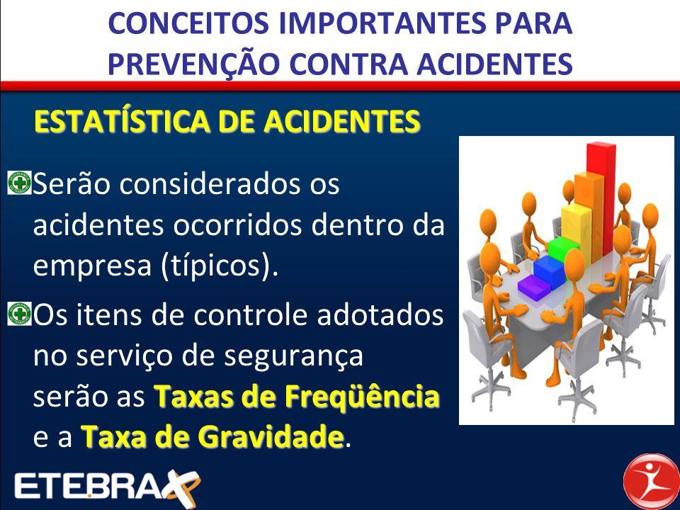 CONCEITOS IMPORTANTES PARA PREVENÇÃO CONTRA ACIDENTES ESTATÍSTICA DE ACIDENTES Serão considerados os acidentes ocorridos dentro da empresa (típicos).