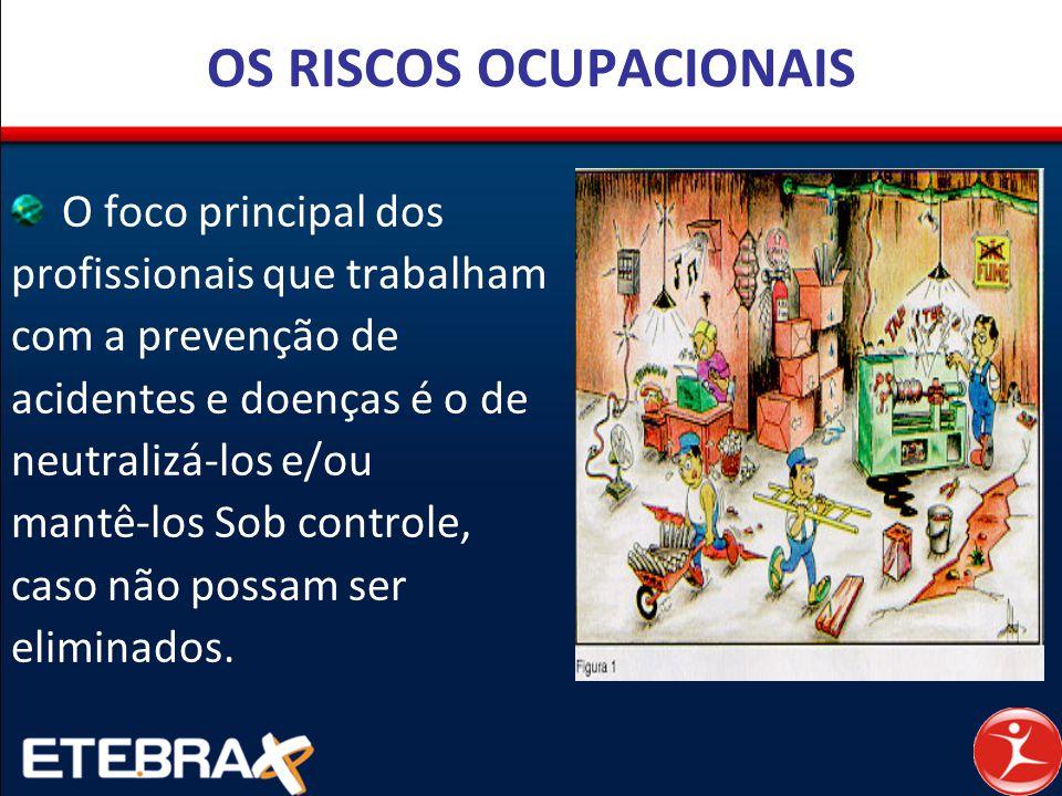 OS RISCOS OCUPACIONAIS O foco principal dos profissionais que trabalham com a prevenção de acidentes e doenças é o de neutralizá-los e/ou mantê-los So