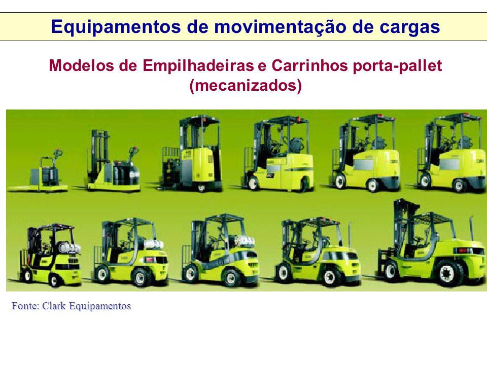 Modelos de Empilhadeiras e Carrinhos porta-pallet (mecanizados) Fonte: Clark Equipamentos Equipamentos de movimentação de cargas