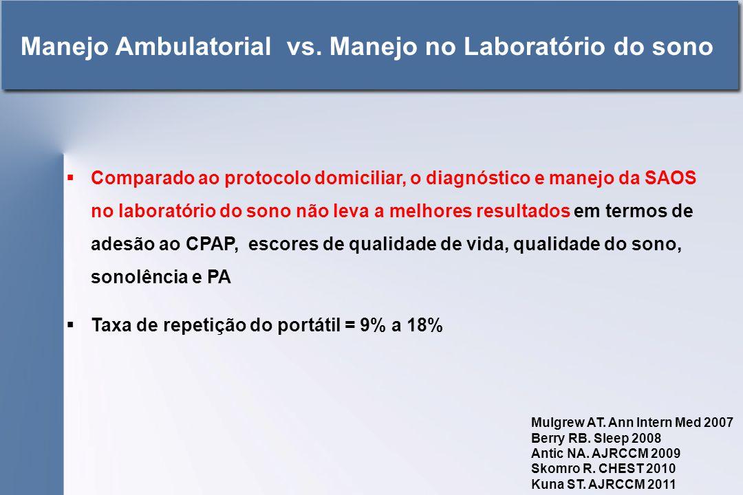  Comparado ao protocolo domiciliar, o diagnóstico e manejo da SAOS no laboratório do sono não leva a melhores resultados em termos de adesão ao CPAP, escores de qualidade de vida, qualidade do sono, sonolência e PA  Taxa de repetição do portátil = 9% a 18% Manejo Ambulatorial vs.