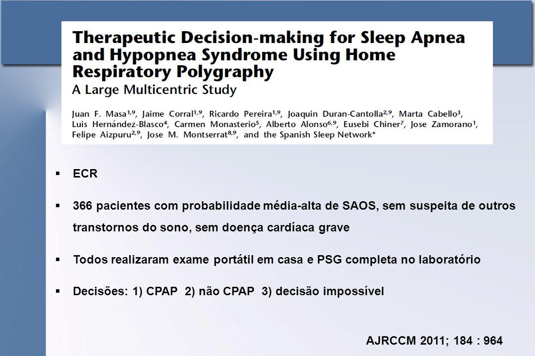  ECR  366 pacientes com probabilidade média-alta de SAOS, sem suspeita de outros transtornos do sono, sem doença cardíaca grave  Todos realizaram exame portátil em casa e PSG completa no laboratório  Decisões: 1) CPAP 2) não CPAP 3) decisão impossível