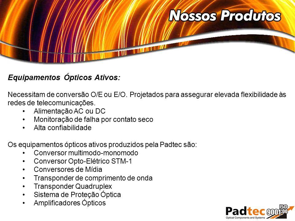 Equipamentos Ópticos Ativos: Necessitam de conversão O/E ou E/O. Projetados para assegurar elevada flexibilidade às redes de telecomunicações. Aliment