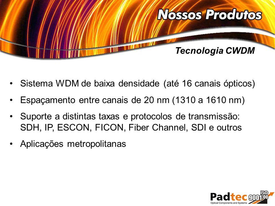 Sistema WDM de baixa densidade (até 16 canais ópticos) Espaçamento entre canais de 20 nm (1310 a 1610 nm) Suporte a distintas taxas e protocolos de tr