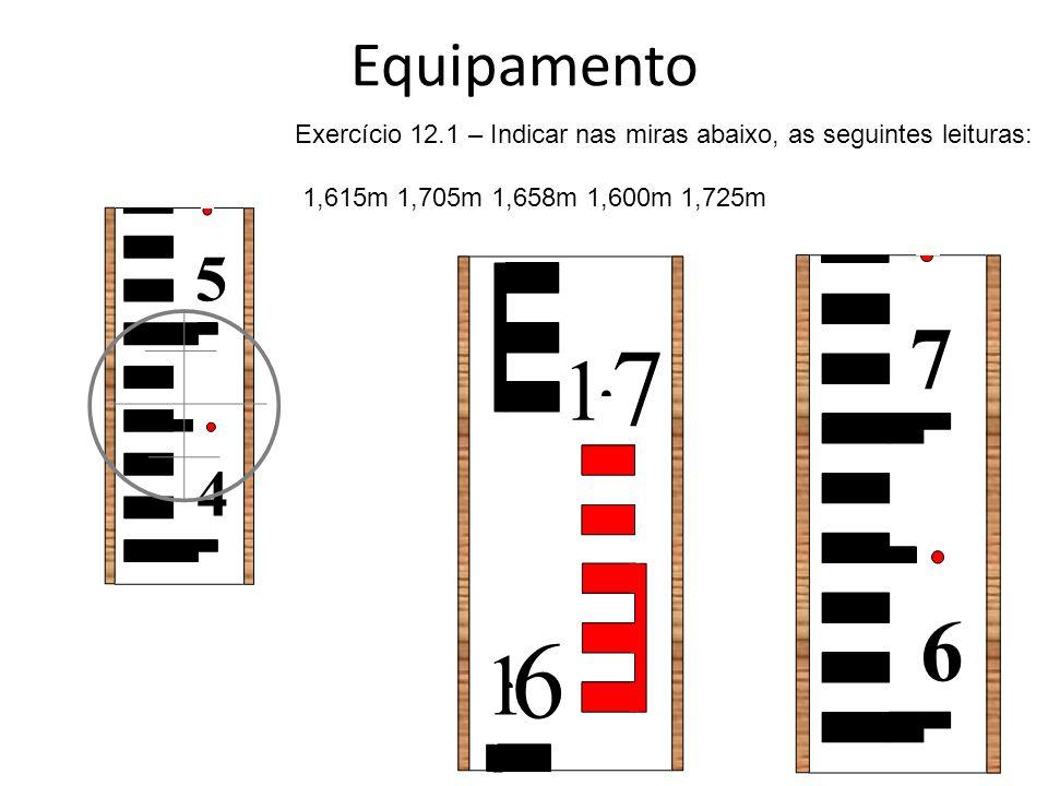 Equipamento Exercício 12.1 – Indicar nas miras abaixo, as seguintes leituras: 1,615m 1,705m 1,658m 1,600m 1,725m