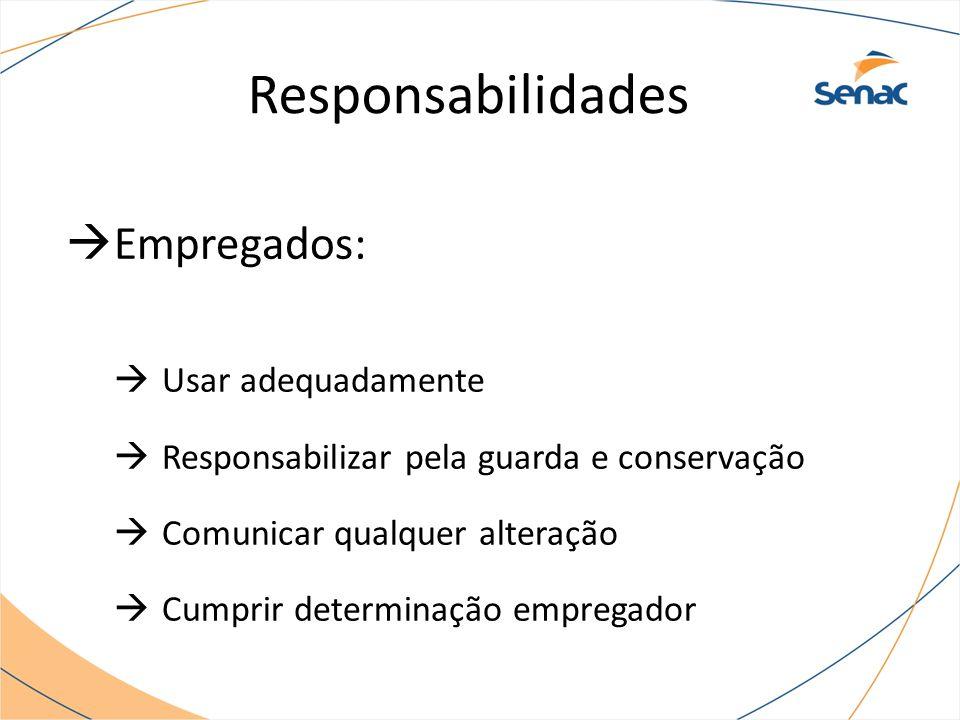  Empregados:  Usar adequadamente  Responsabilizar pela guarda e conservação  Comunicar qualquer alteração  Cumprir determinação empregador Responsabilidades