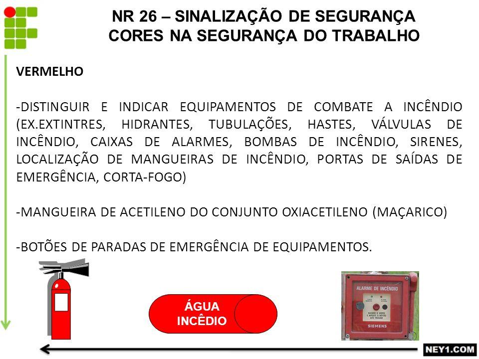 NR 26 – SINALIZAÇÃO DE SEGURANÇA CORES NA SEGURANÇA DO TRABALHO VERMELHO -DISTINGUIR E INDICAR EQUIPAMENTOS DE COMBATE A INCÊNDIO (EX.EXTINTRES, HIDRA