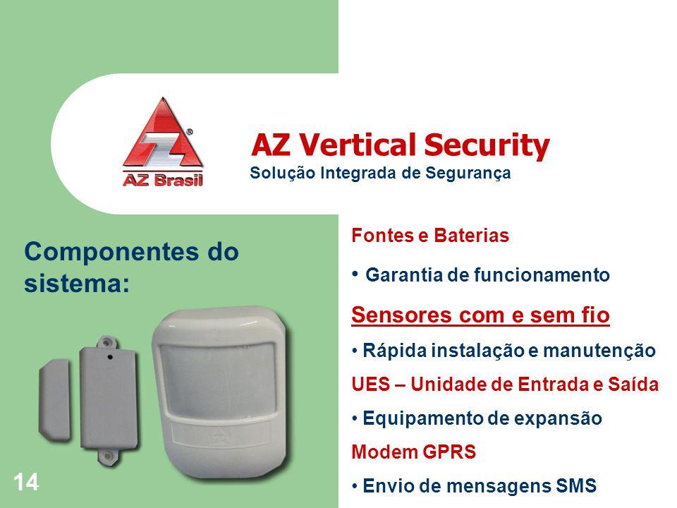 14 Componentes do sistema: AZ Vertical Security Solução Integrada de Segurança Fontes e Baterias Garantia de funcionamento Sensores com e sem fio Rápida instalação e manutenção UES – Unidade de Entrada e Saída Equipamento de expansão Modem GPRS Envio de mensagens SMS