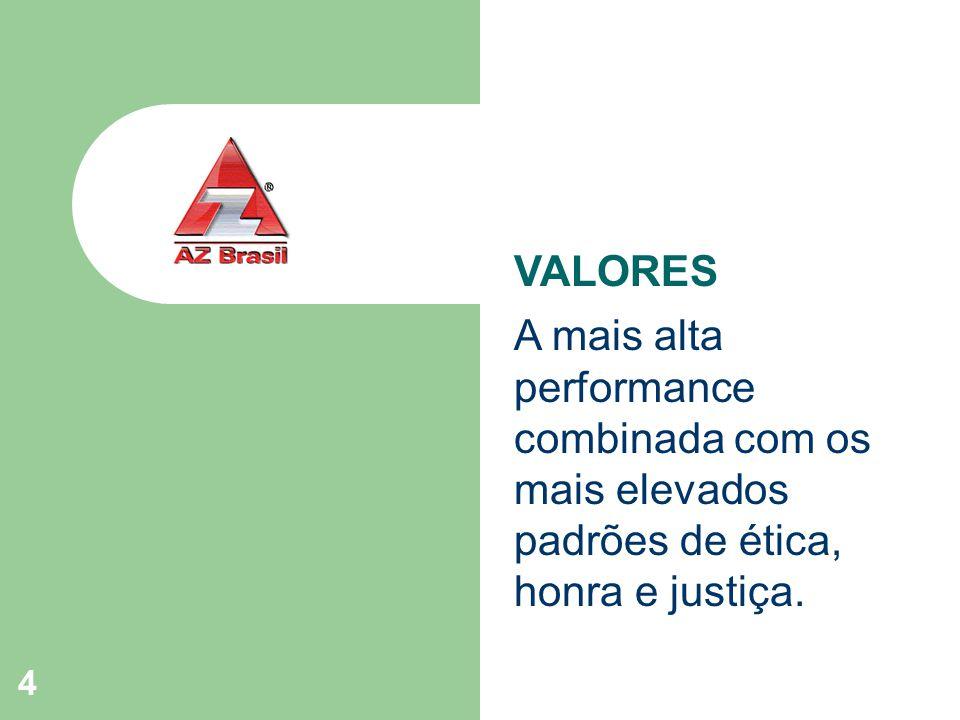 4 VALORES A mais alta performance combinada com os mais elevados padrões de ética, honra e justiça.