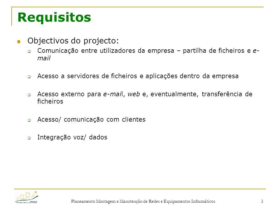 Planeamento Montagem e Manutenção de Redes e Equipamentos Informáticos 3 Requisitos Objectivos do projecto:  Comunicação entre utilizadores da empres