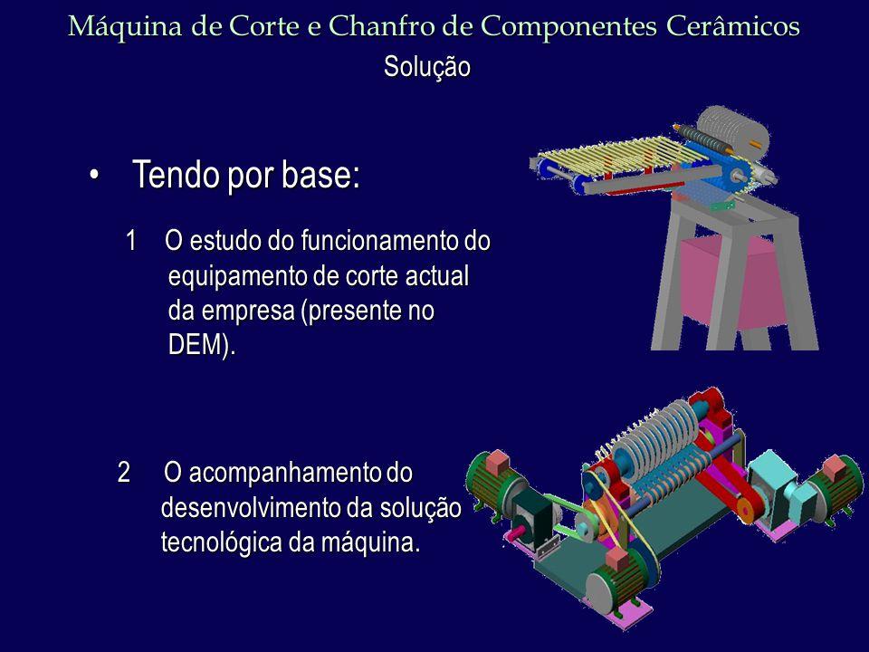 Máquina de Corte e Chanfro de Componentes Cerâmicos Solução 1 O estudo do funcionamento do equipamento de corte actual da empresa (presente no DEM).