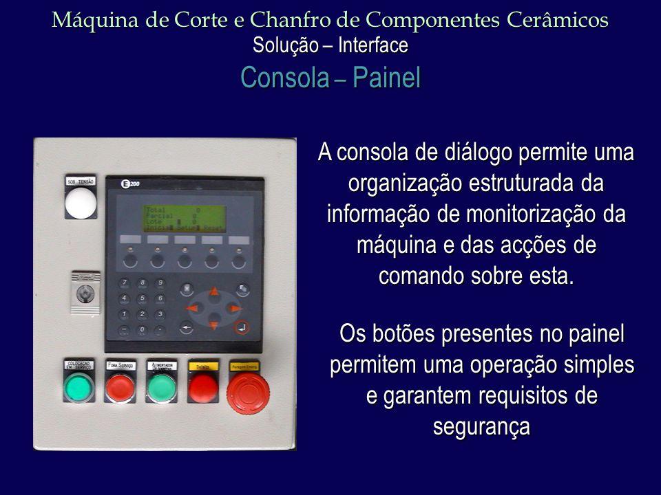 Máquina de Corte e Chanfro de Componentes Cerâmicos Solução – Interface Consola – Painel A consola de diálogo permite uma organização estruturada da informação de monitorização da máquina e das acções de comando sobre esta.