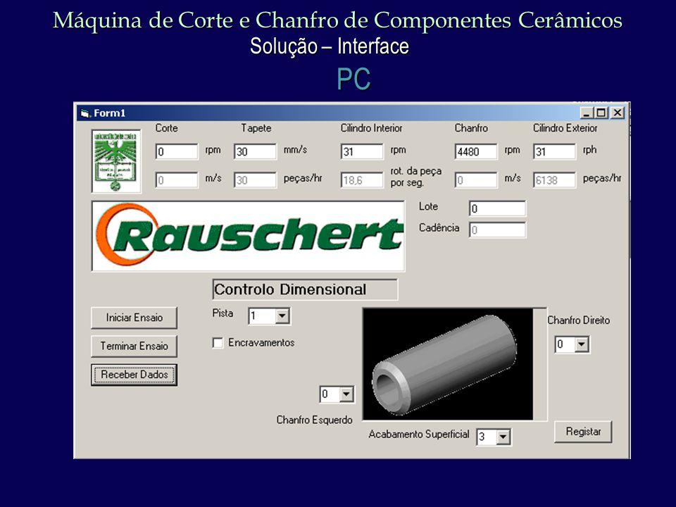 Máquina de Corte e Chanfro de Componentes Cerâmicos Solução – Interface PC
