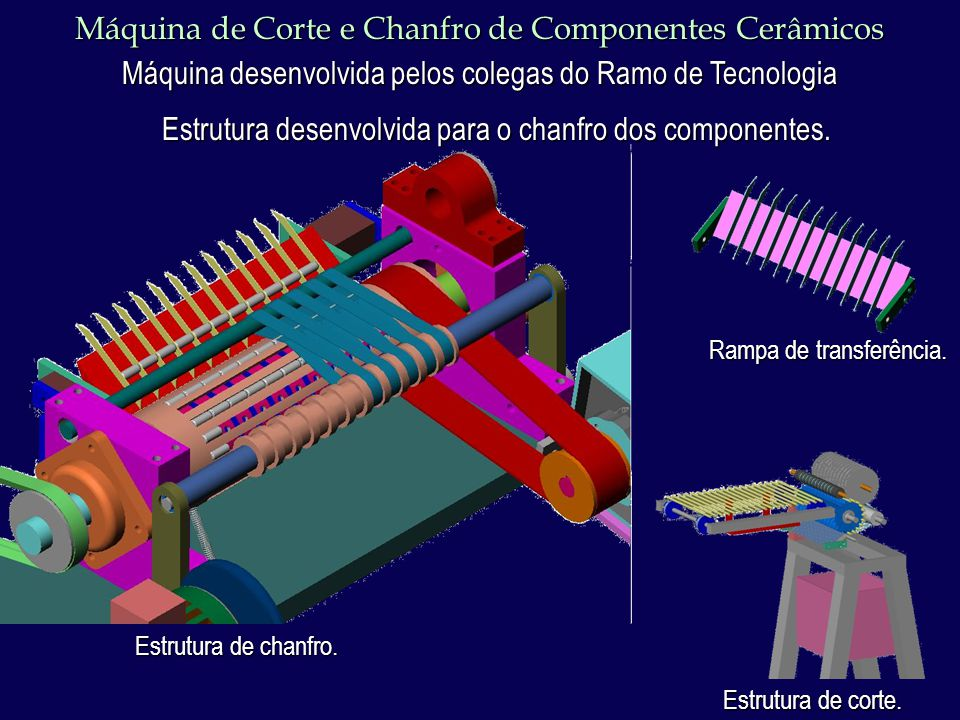 Máquina de Corte e Chanfro de Componentes Cerâmicos Máquina desenvolvida pelos colegas do Ramo de Tecnologia