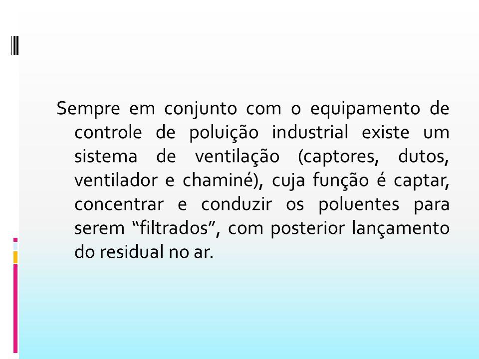 Sempre em conjunto com o equipamento de controle de poluição industrial existe um sistema de ventilação (captores, dutos, ventilador e chaminé), cuja