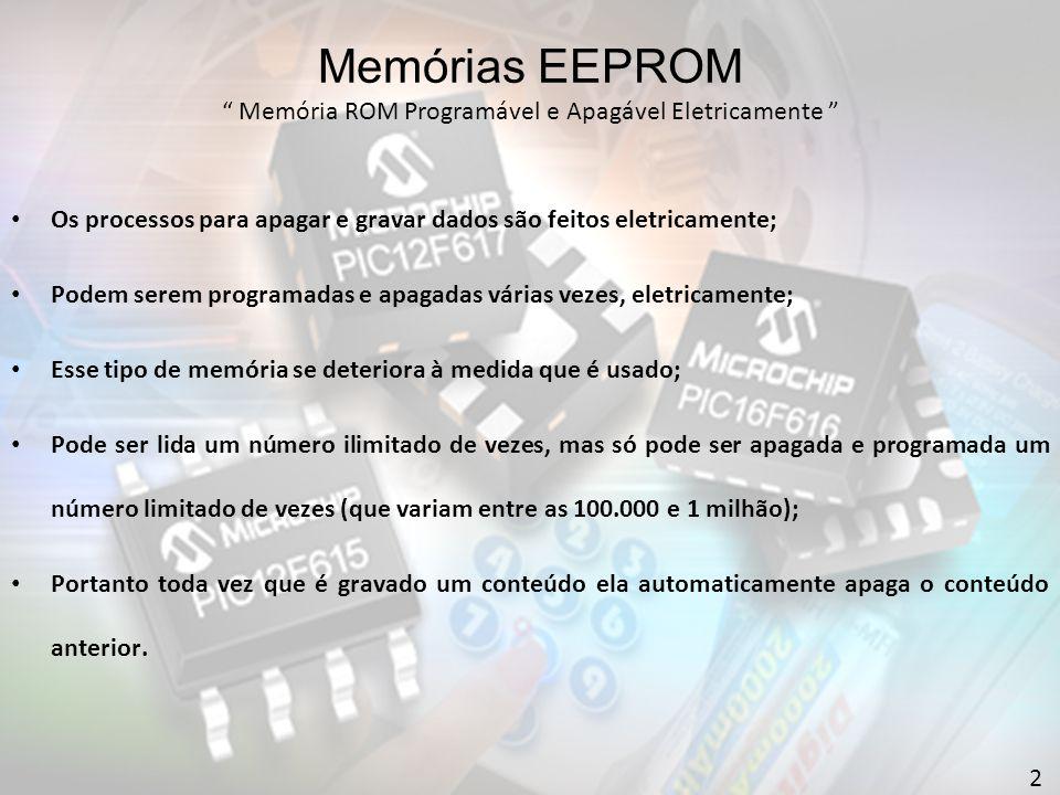 Memórias EEPROM Memória ROM Programável e Apagável Eletricamente 2 Os processos para apagar e gravar dados são feitos eletricamente; Podem serem programadas e apagadas várias vezes, eletricamente; Esse tipo de memória se deteriora à medida que é usado; Pode ser lida um número ilimitado de vezes, mas só pode ser apagada e programada um número limitado de vezes (que variam entre as 100.000 e 1 milhão); Portanto toda vez que é gravado um conteúdo ela automaticamente apaga o conteúdo anterior.