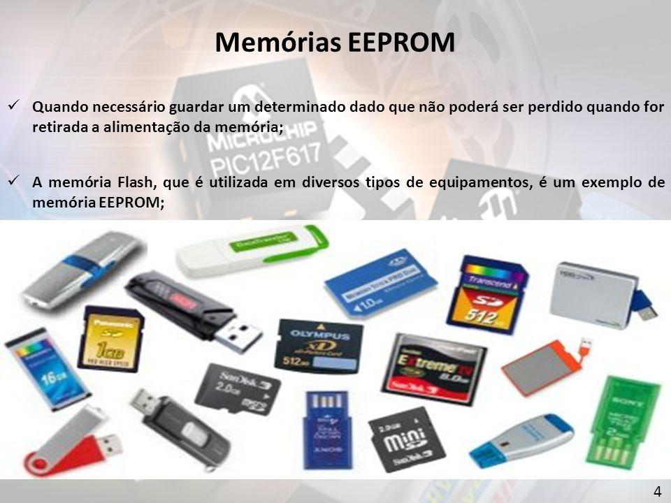 Quando necessário guardar um determinado dado que não poderá ser perdido quando for retirada a alimentação da memória; A memória Flash, que é utilizada em diversos tipos de equipamentos, é um exemplo de memória EEPROM; 4 Memórias EEPROM