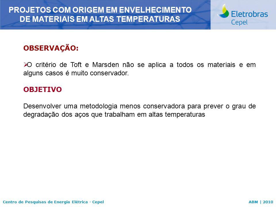 Centro de Pesquisas de Energia Elétrica - CepelABM | 2010 OBSERVAÇÃO:  O critério de Toft e Marsden não se aplica a todos os materiais e em alguns ca