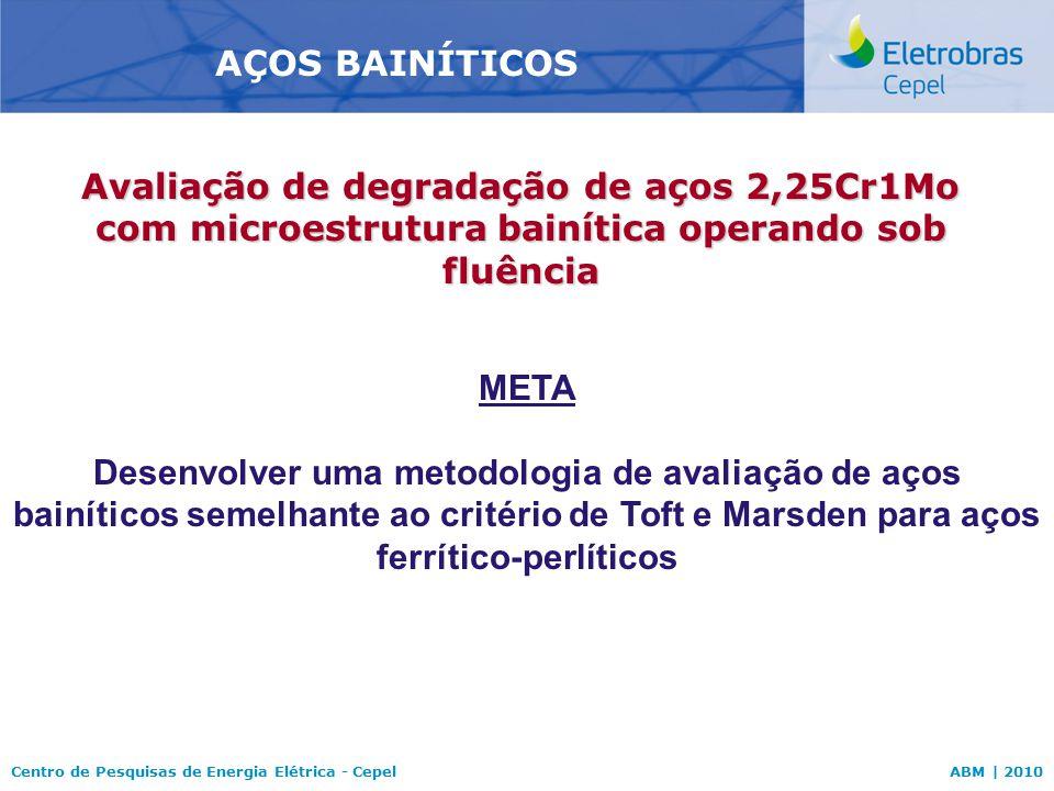 Centro de Pesquisas de Energia Elétrica - CepelABM | 2010 AÇOS BAINÍTICOS META Desenvolver uma metodologia de avaliação de aços bainíticos semelhante