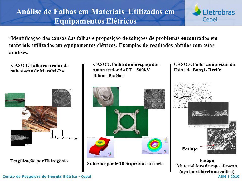 Centro de Pesquisas de Energia Elétrica - CepelABM | 2010 Análise de Falhas em Materiais Utilizados em Equipamentos Elétricos Identificação das causas