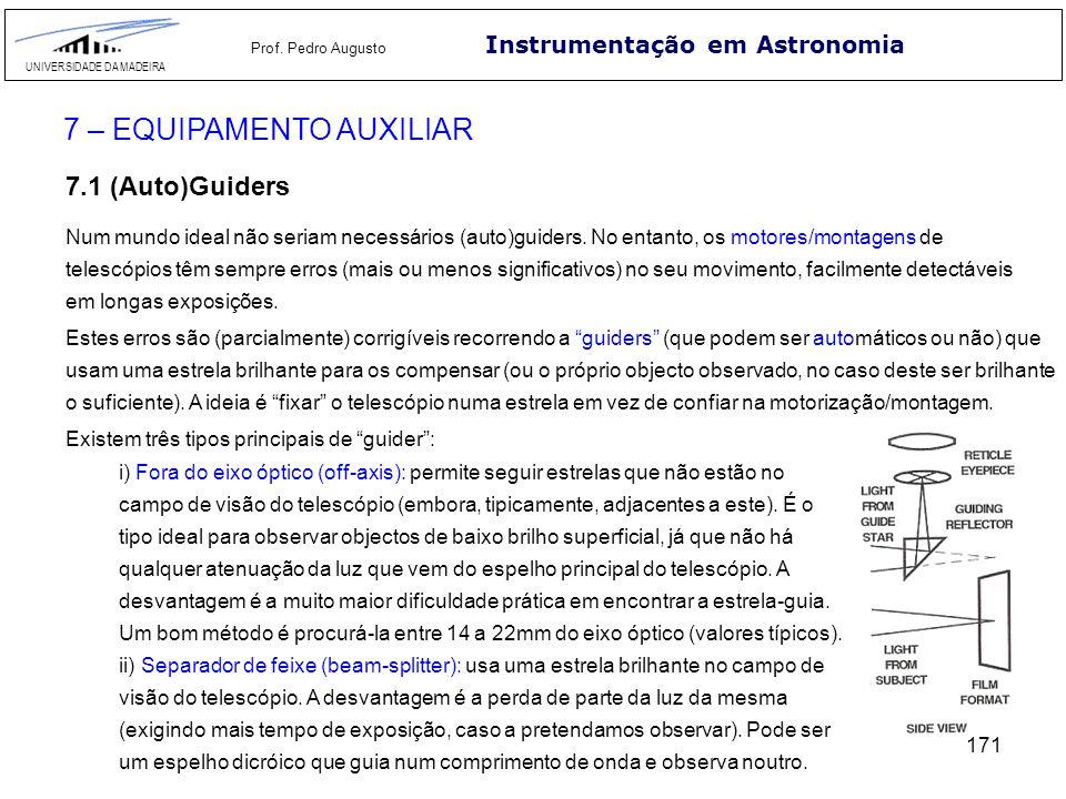 171 Instrumentação em Astronomia UNIVERSIDADE DA MADEIRA Prof. Pedro Augusto 7 – EQUIPAMENTO AUXILIAR 7.1 (Auto)Guiders Num mundo ideal não seriam nec