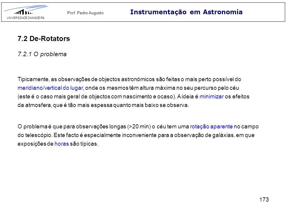 173 Instrumentação em Astronomia UNIVERSIDADE DA MADEIRA Prof. Pedro Augusto 7.2 De-Rotators 7.2.1 O problema Tipicamente, as observações de objectos