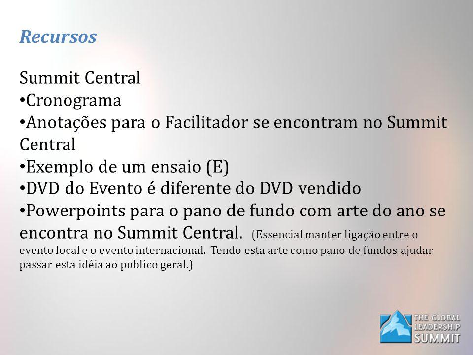 Recursos Summit Central Cronograma Anotações para o Facilitador se encontram no Summit Central Exemplo de um ensaio (E) DVD do Evento é diferente do DVD vendido Powerpoints para o pano de fundo com arte do ano se encontra no Summit Central.