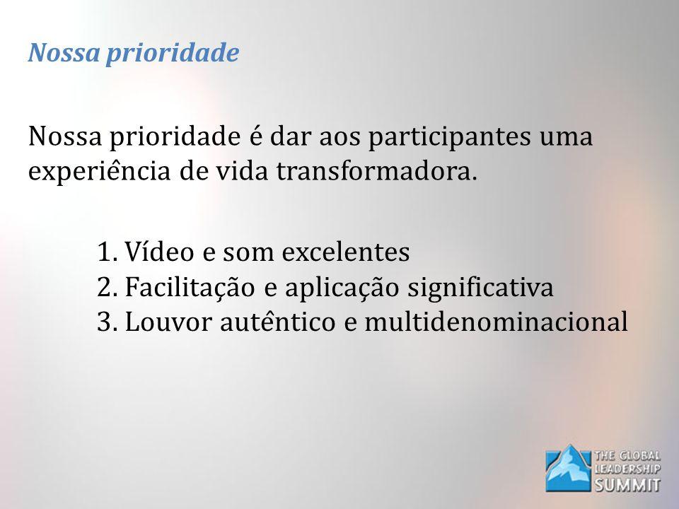 Nossa prioridade Nossa prioridade é dar aos participantes uma experiência de vida transformadora. 1. Vídeo e som excelentes 2. Facilitação e apli