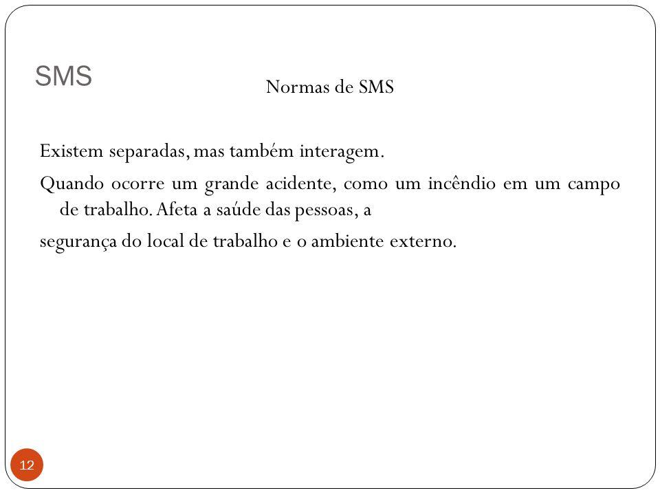 SMS 12 Normas de SMS Existem separadas, mas também interagem. Quando ocorre um grande acidente, como um incêndio em um campo de trabalho. Afeta a saúd