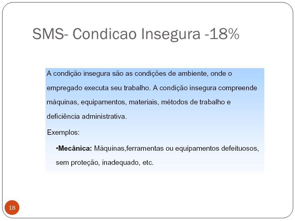 SMS- Condicao Insegura -18% 18