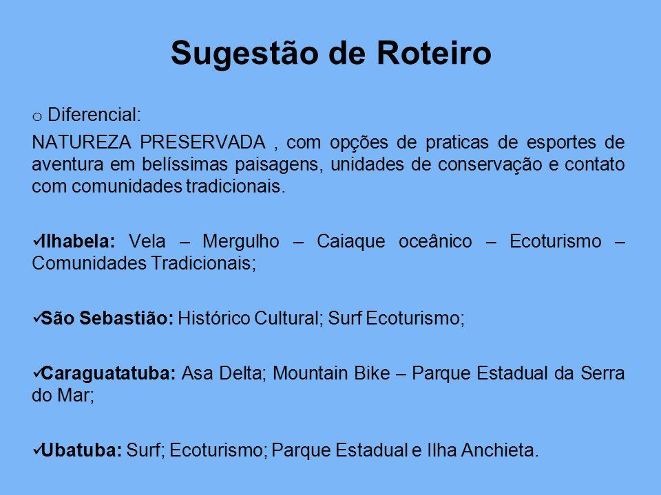 Sugestão de Roteiro o Diferencial: NATUREZA PRESERVADA, com opções de praticas de esportes de aventura em belíssimas paisagens, unidades de conservaçã