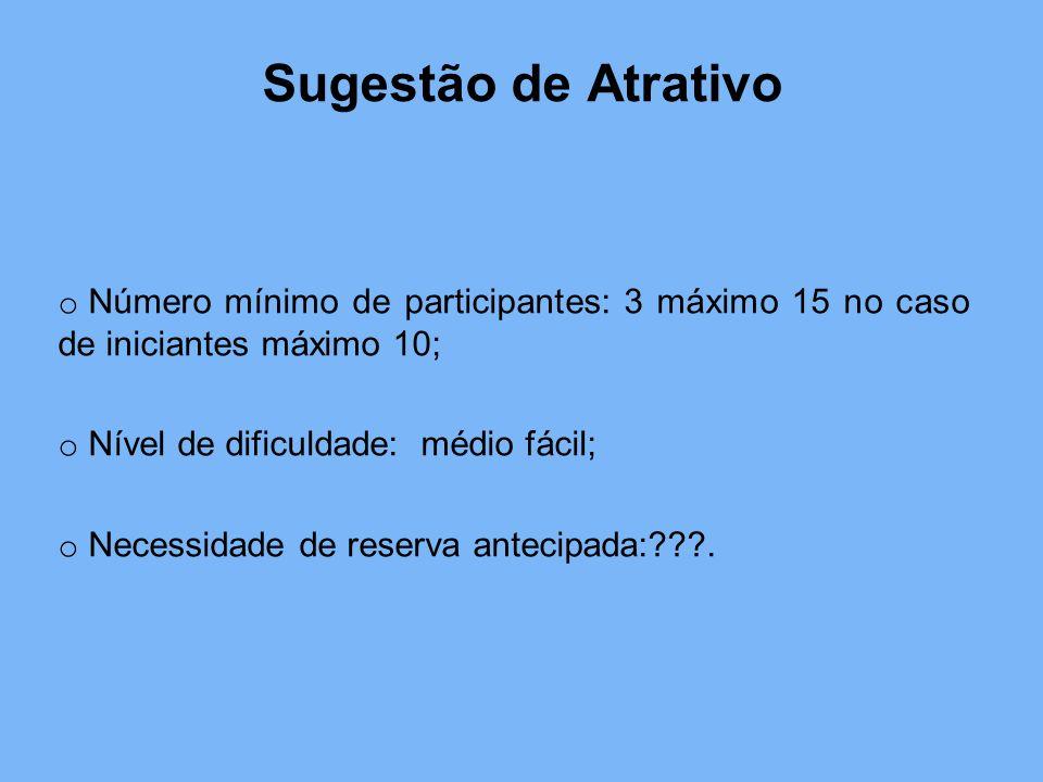 Sugestão de Atrativo o Número mínimo de participantes: 3 máximo 15 no caso de iniciantes máximo 10; o Nível de dificuldade: médio fácil; o Necessidade de reserva antecipada:???.