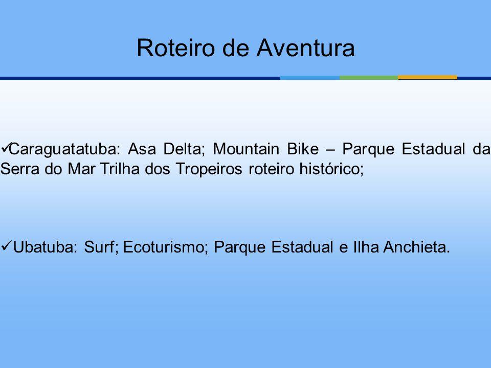 Caraguatatuba: Asa Delta; Mountain Bike – Parque Estadual da Serra do Mar Trilha dos Tropeiros roteiro histórico; Ubatuba: Surf; Ecoturismo; Parque Es