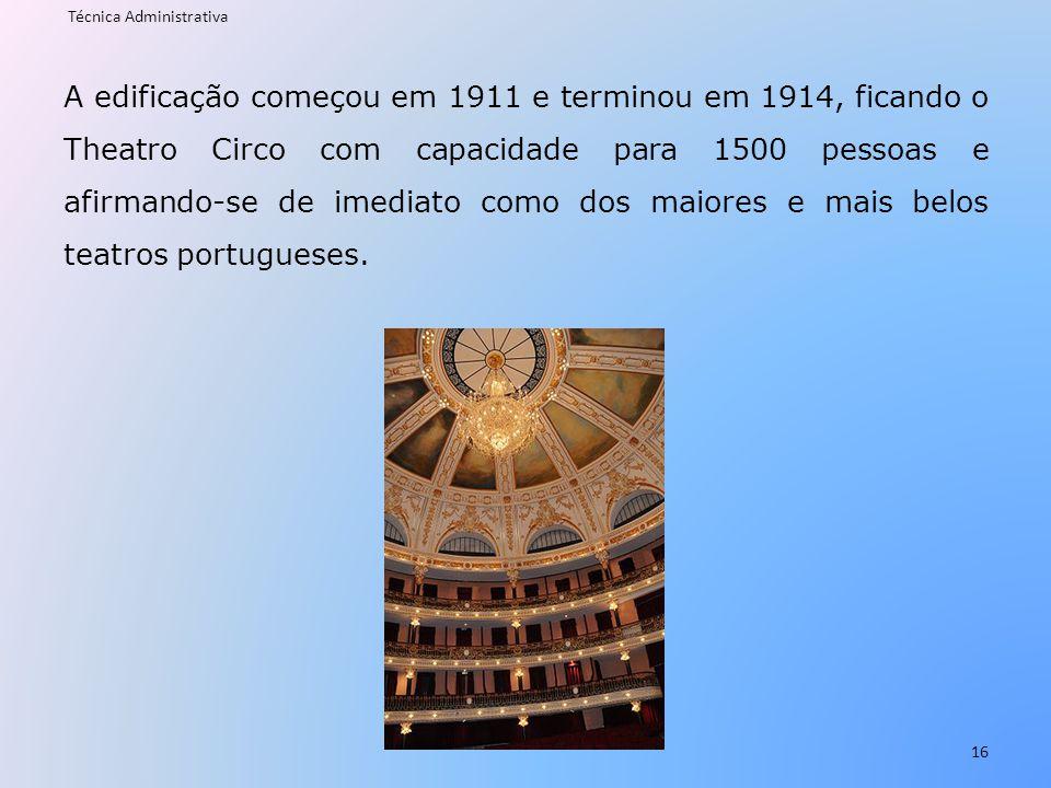 A edificação começou em 1911 e terminou em 1914, ficando o Theatro Circo com capacidade para 1500 pessoas e afirmando-se de imediato como dos maiores