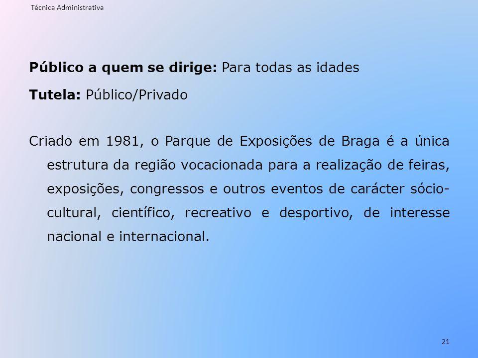 Público a quem se dirige: Para todas as idades Tutela: Público/Privado Criado em 1981, o Parque de Exposições de Braga é a única estrutura da região v