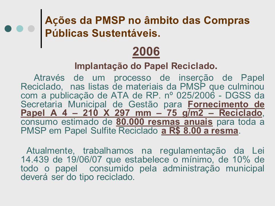 Através de um processo de inserção de Papel Reciclado, nas listas de materiais da PMSP que culminou com a publicação de ATA de RP. nº 025/2006 - DGSS
