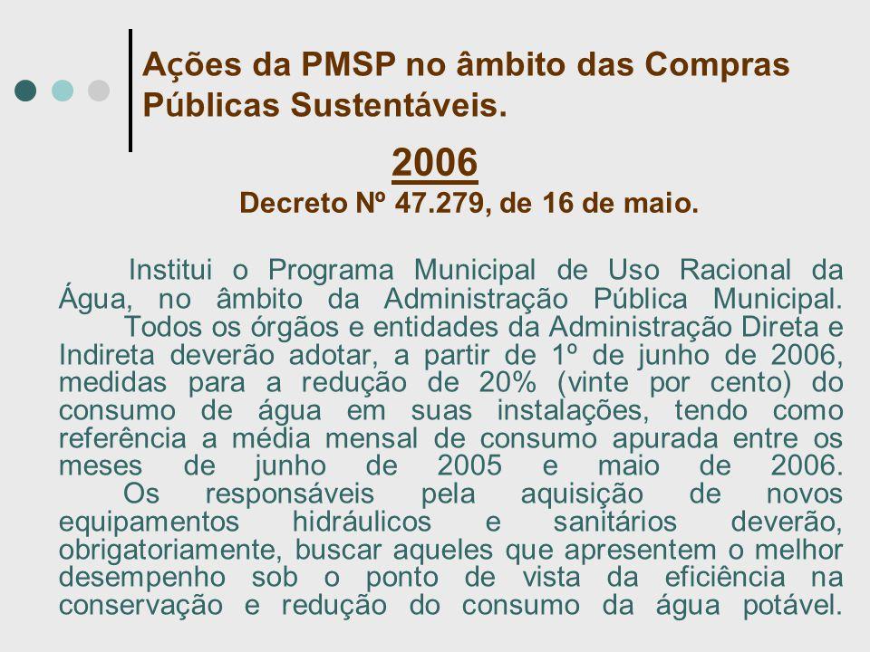 2006 Decreto Nº 47.279, de 16 de maio. Institui o Programa Municipal de Uso Racional da Água, no âmbito da Administração Pública Municipal. Todos os ó