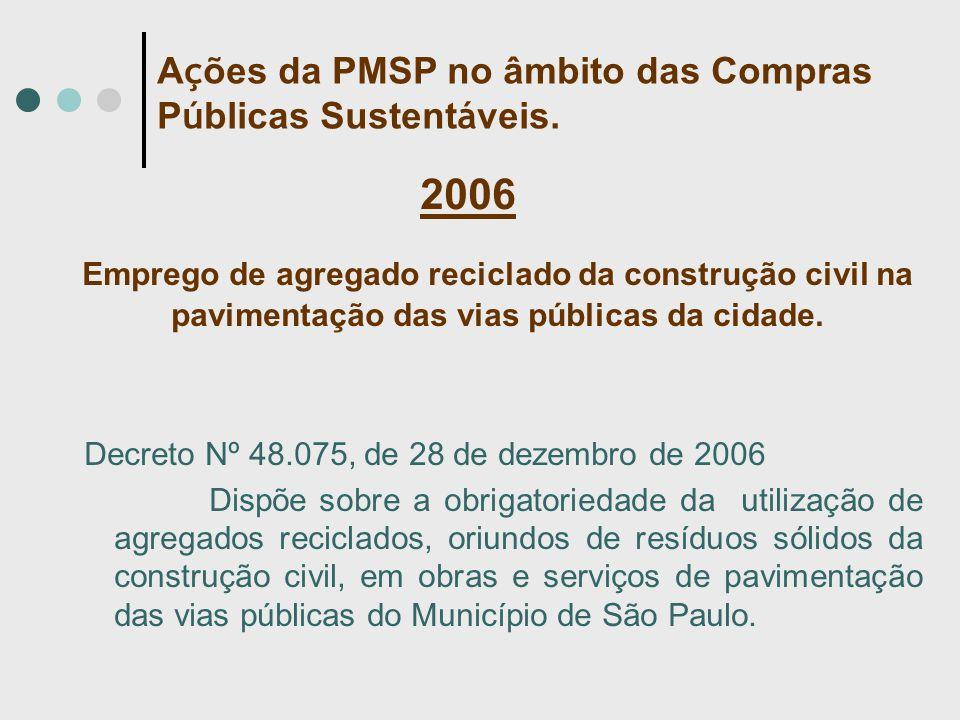 2006 Emprego de agregado reciclado da construção civil na pavimentação das vias públicas da cidade. Decreto Nº 48.075, de 28 de dezembro de 2006 Dispõ