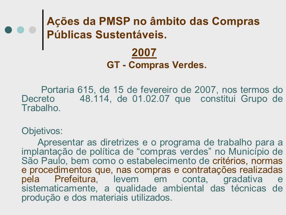 2007 GT - Compras Verdes. Portaria 615, de 15 de fevereiro de 2007, nos termos do Decreto 48.114, de 01.02.07 que constitui Grupo de Trabalho. Objetiv