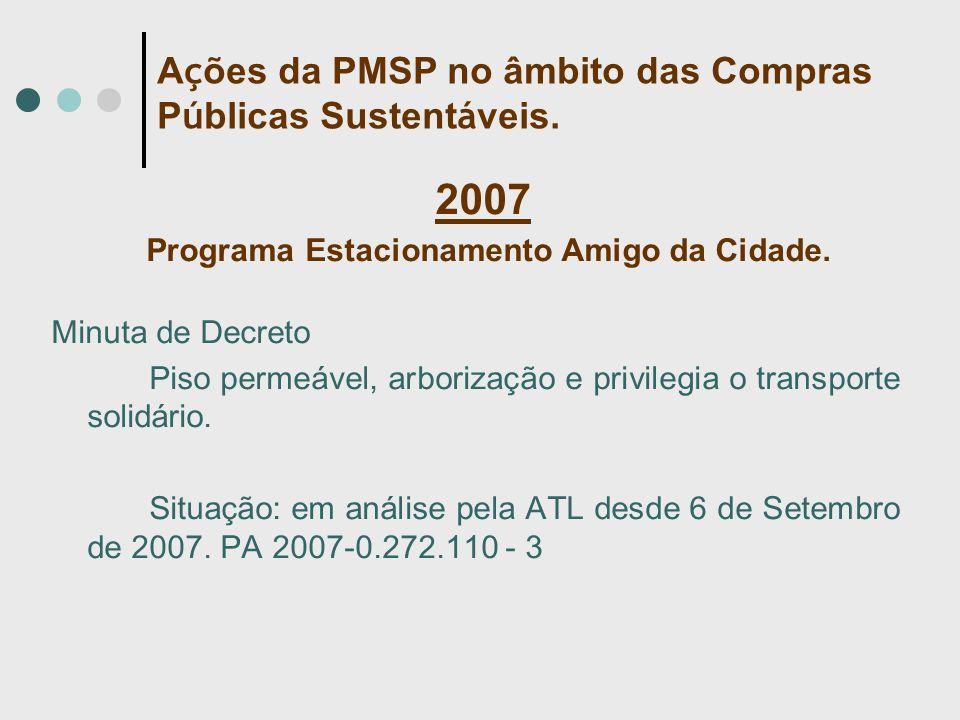 2007 Programa Estacionamento Amigo da Cidade. Minuta de Decreto Piso permeável, arborização e privilegia o transporte solidário. Situação: em análise
