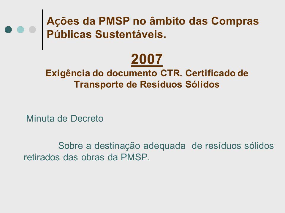 2007 Exigência do documento CTR. Certificado de Transporte de Resíduos Sólidos Minuta de Decreto Sobre a destinação adequada de resíduos sólidos retir