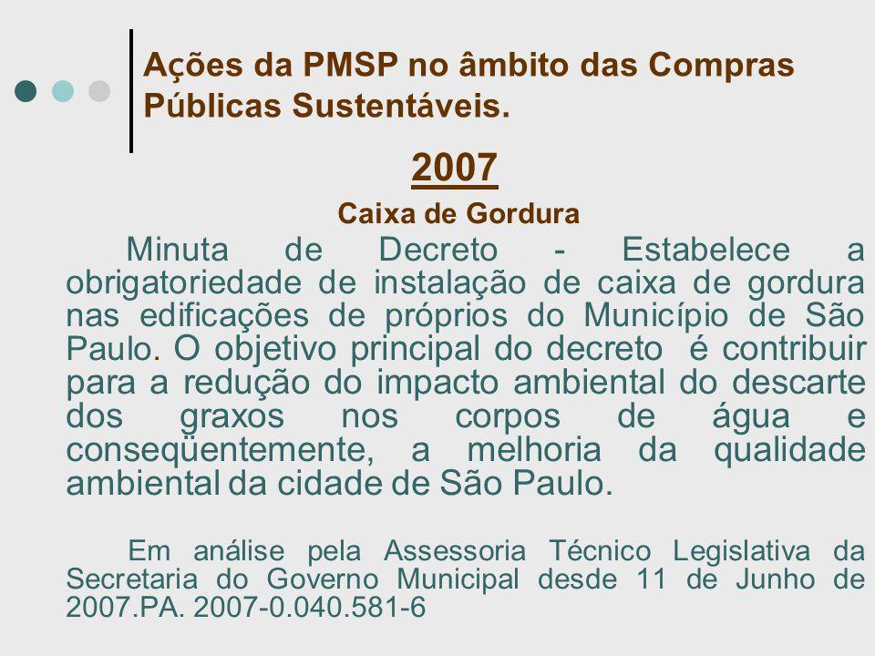 2007 Caixa de Gordura Minuta de Decreto - Estabelece a obrigatoriedade de instalação de caixa de gordura nas edificações de próprios do Município de São Paulo.