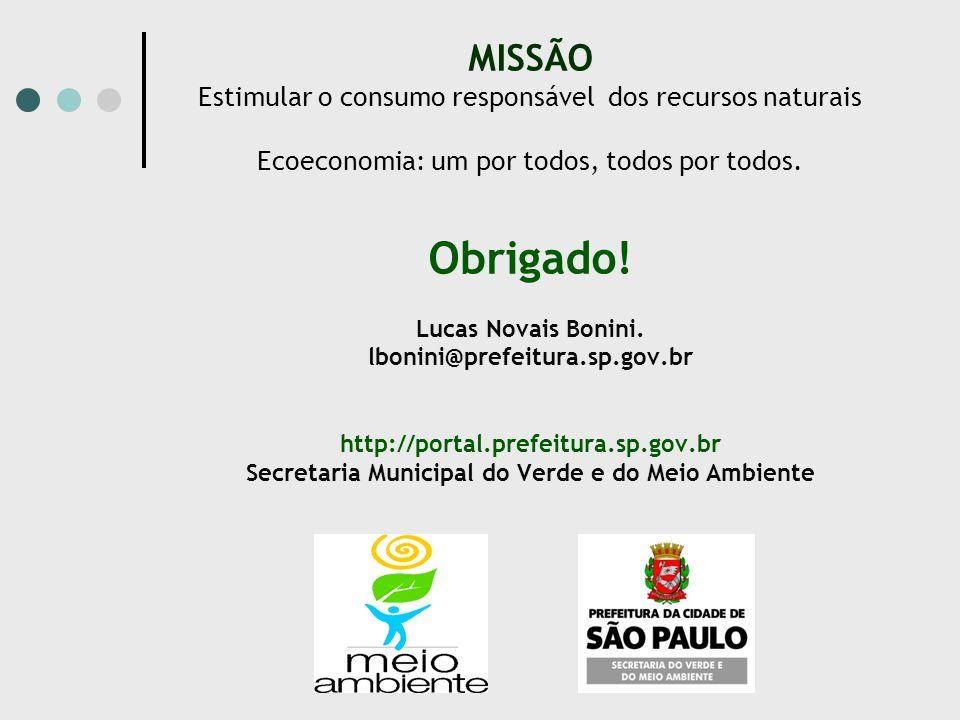 MISSÃO Estimular o consumo responsável dos recursos naturais Ecoeconomia: um por todos, todos por todos. Obrigado! Lucas Novais Bonini. lbonini@prefei